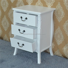 Fashion bedroom furniture rubberwood price white narrow wood mirror nightstand