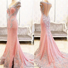 Nyata Gambar Panjang Evening Dresses 2017 Sexy Illusion Jauh V-Neck Kristal Beaded Sheer Kembali Mermaid Evening Gown Dress Formal