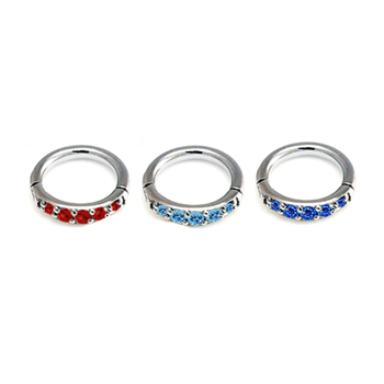 316l Surgical Steel Helix Piercing Hinged Ring With Paved Cz Gems