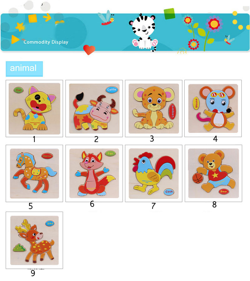 Wholesale Hot Selling Cartoon Animal Wooden Jigsaw Puzzle for Baby