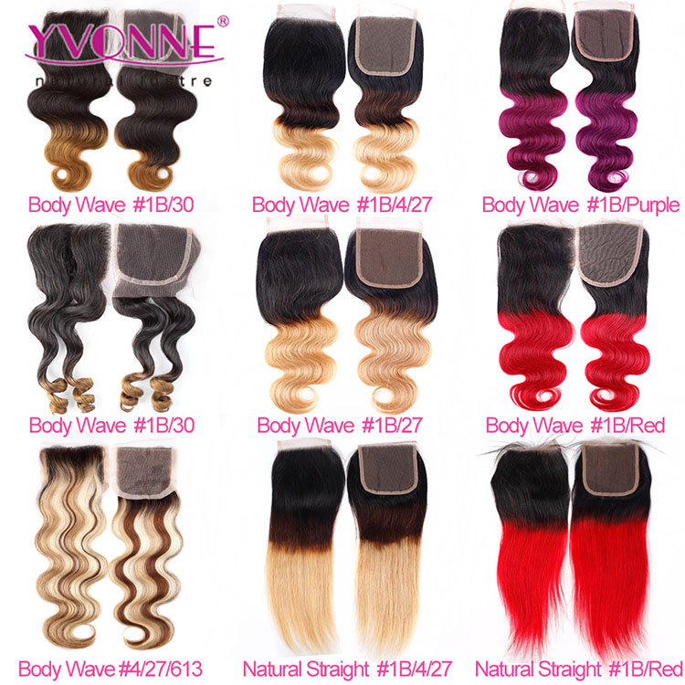 Wholesale color 613 blonde straight hair silk base closure lace