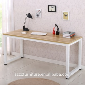 Home furniture writing table computer desk wood worktop with metal frame MFC finishing desk