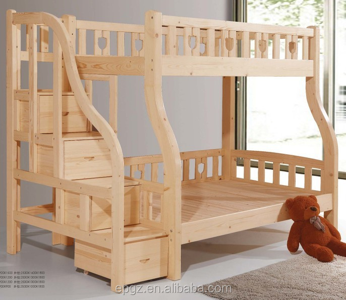 Double Durable Modern Adult Solid Wood Bunk Bed Beech