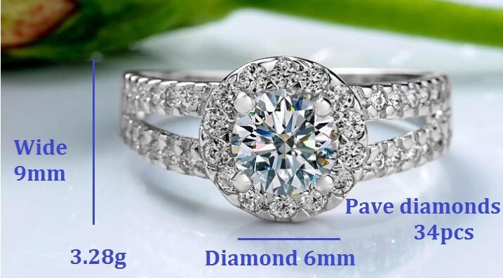 אופנה קריסטל אבן טבעות כסף עבור נשים מעורבות בנות למתנת יום האהבה,בסדר יפה קסם כוכב תכשיטים מכירה גדולה J510P