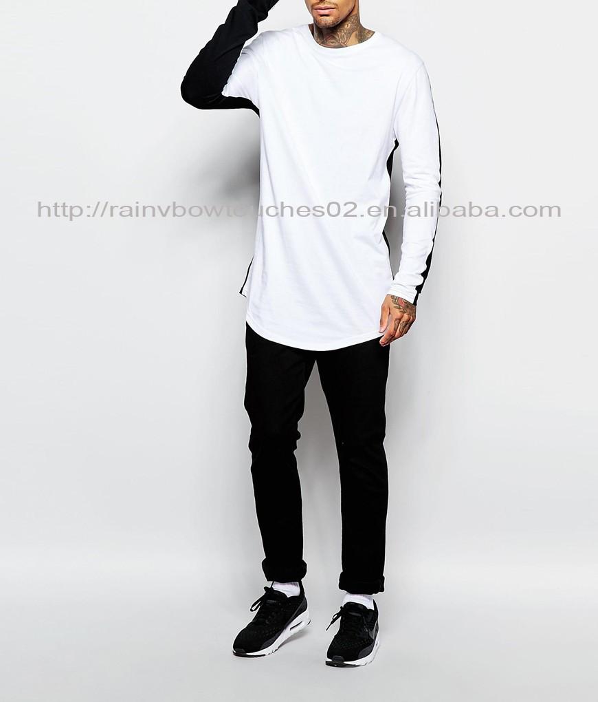a214c28bef2 Custom Mens Half Black Half White Super Longline T-shirt - Buy Super ...