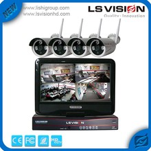 "LS VISION 4CH WIFI NVR camera kit, 10"" Monitor 4CH NVR kit with WIFI IP camera 720P, 4CH wireless camera kit"