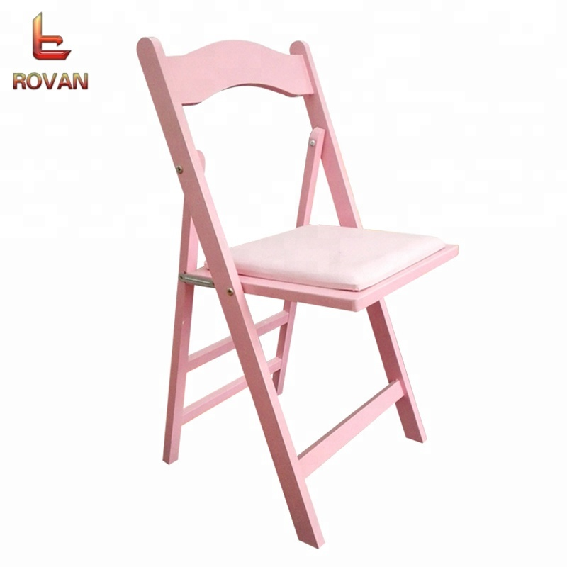 Natural Wood Wedding Folding avantgarde wimbledon chairs with Padded Seat