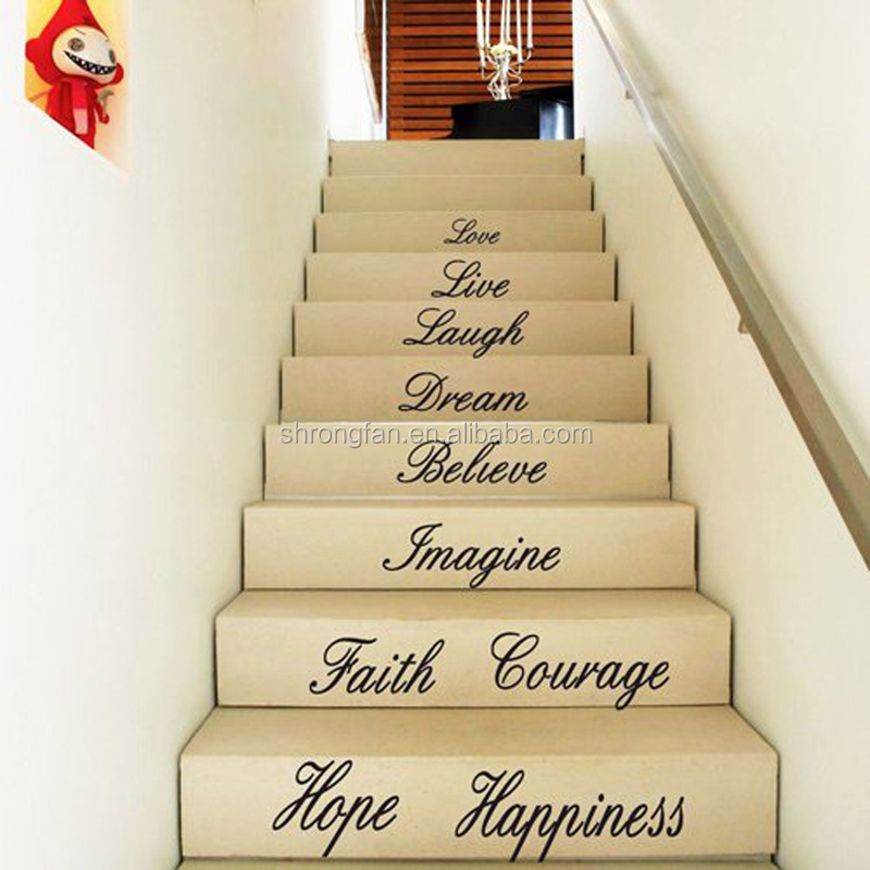 DIY removable house stair word art quotes love faith floor stickers decals