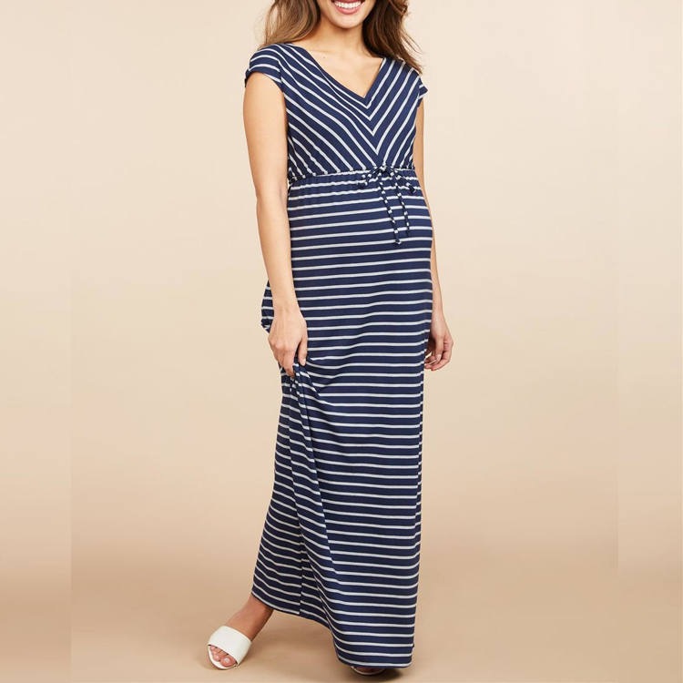 c9a90c30cb2 Summer Korean OEM Wholesale Maternity Clothes Cotton Spandex Stripe Cup  sleeve V-neck Maxi Casual