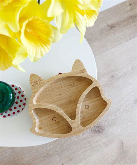 Cute Animal Design Shaped Kids Tray Natural Bamboo Dinner Plate