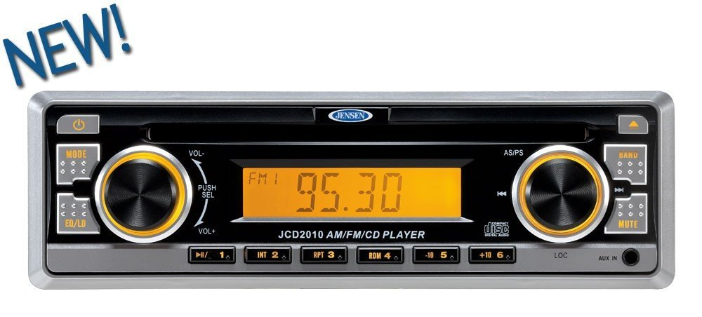 Jensen JCD2010 AM/FM/CD Digital Audio Compact Stereo, 4x40W Output power, Euro-DIN (sleeve-mount) chassis design, Amber LED illumination, Electronic AM/FM tuner (US/Euro), Station presets (18FM, 12AM), Auto-Store (AS), Preset Scan (PS), Single CD player (CD-R/RW compatible), 40 Second CD ESP