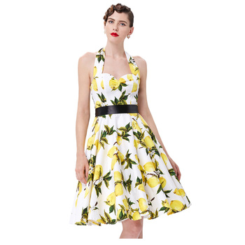 555529626eca Grace Karin Cheap Knee Length Halter 50s Retro Style Lemon Pinup Cotton  Print Dresses CL6075-