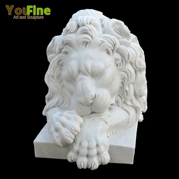 Garden Hand Carved Natural Stone Lion Statue