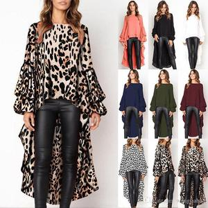 7ca0a5aa1eff3 ZH0987X Dresses for Womens clothes 2019 Womens Leopard Front Short Back Long  Shirt Dress Ladies Loose Tops Blouse