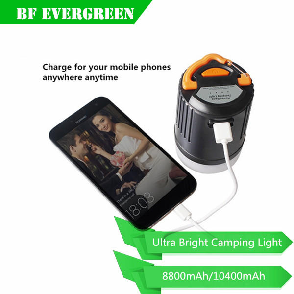 2016 New Portable tent light + Power Bank with 8800mA/ 10400mA Lion Battery +USB charger