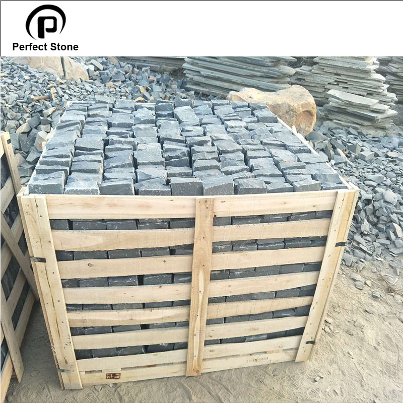 Paving stone black basalt for granite cube stone