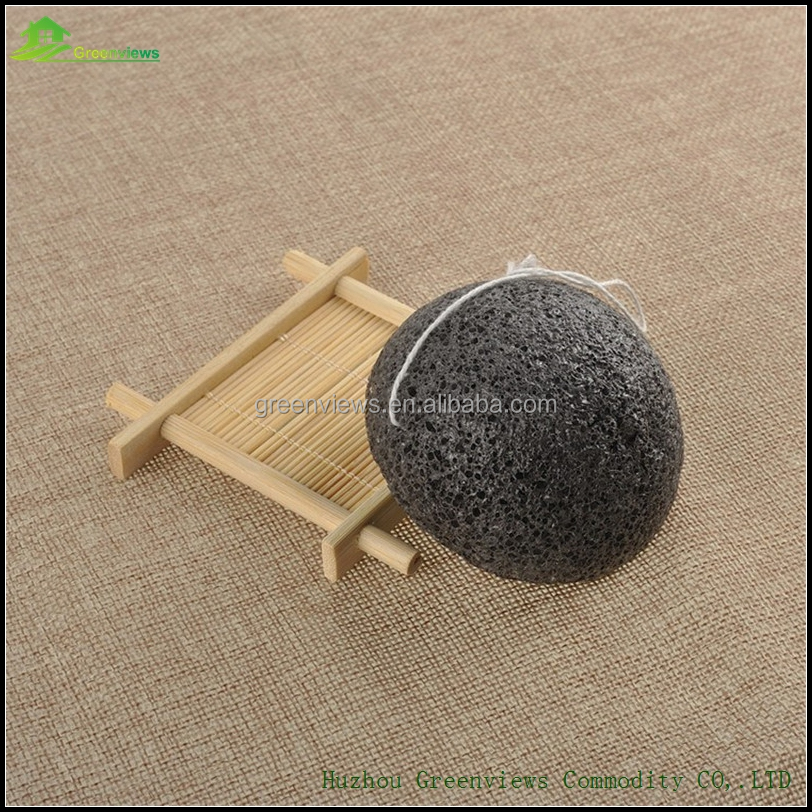 Bamboo charcoal nature konjac sponge soft shaped body face cleaning cosmetic sponge wholesale