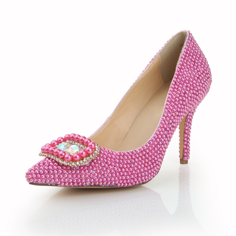 2015 Fashion Fuchsia Rhinestones Wedding Bride Shoes Crystal Thin Pointed Toe Shoes for Women Pearls Pumps Heels Shoes LSDN-1068