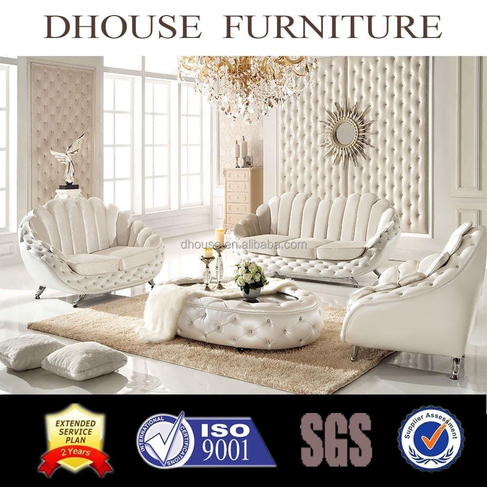 2018 New Classic Furniture Luxury Italian White Fabric Sofa Sets