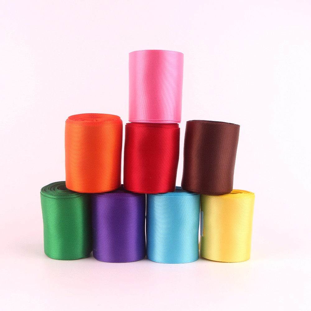 Wholesale Single Faced Solid Colors 4'' Printed Polyester Satin Ribbon
