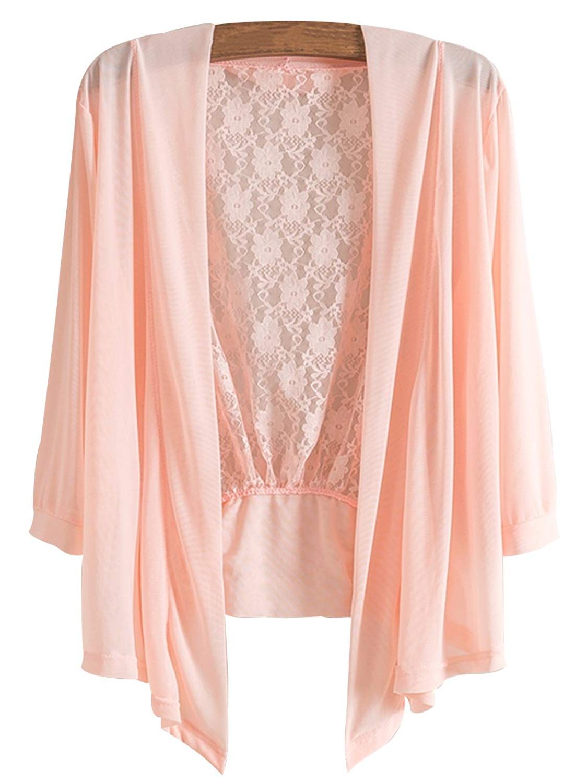 a46381667d4 Get Quotations · Trendy XU Summer Women Girls Chiffon Lace Blouse Jacket  Open Front Cardigan Sunscreen Clothing