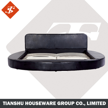 On Sale Black Modern Round Bed Wood Frame Cheap King Size Bed - Black leather round bed