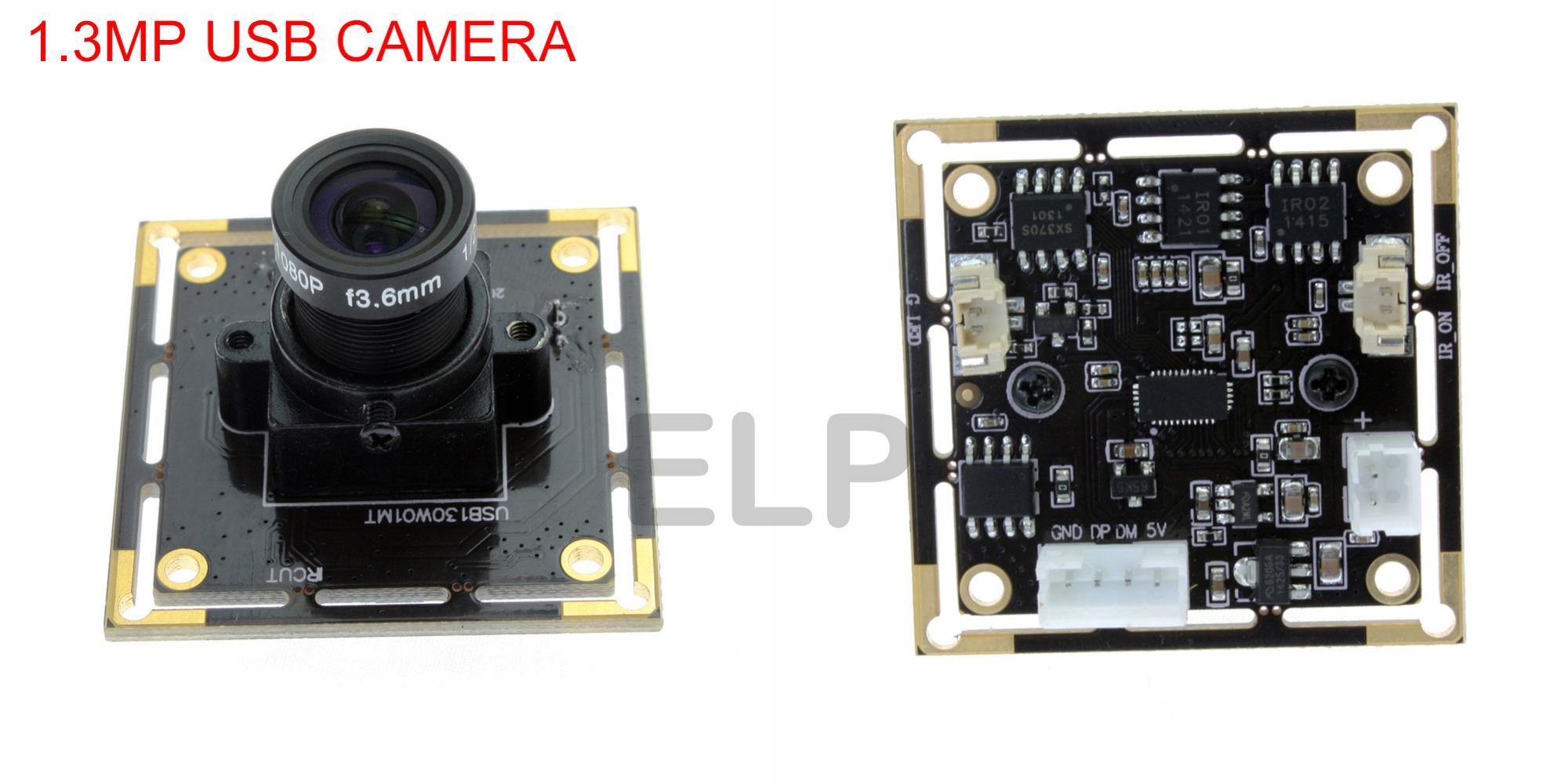 ELP USB Web Camera 1.3m pixel Aptina AR00130 HD Color Image Sensor Low Light Camera Module For Raspberry Pi, Lunix,Android
