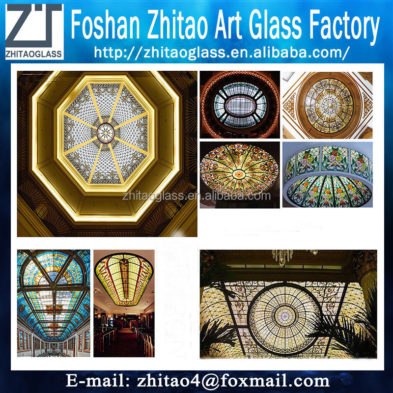Modern builing ceiling dome stained glass