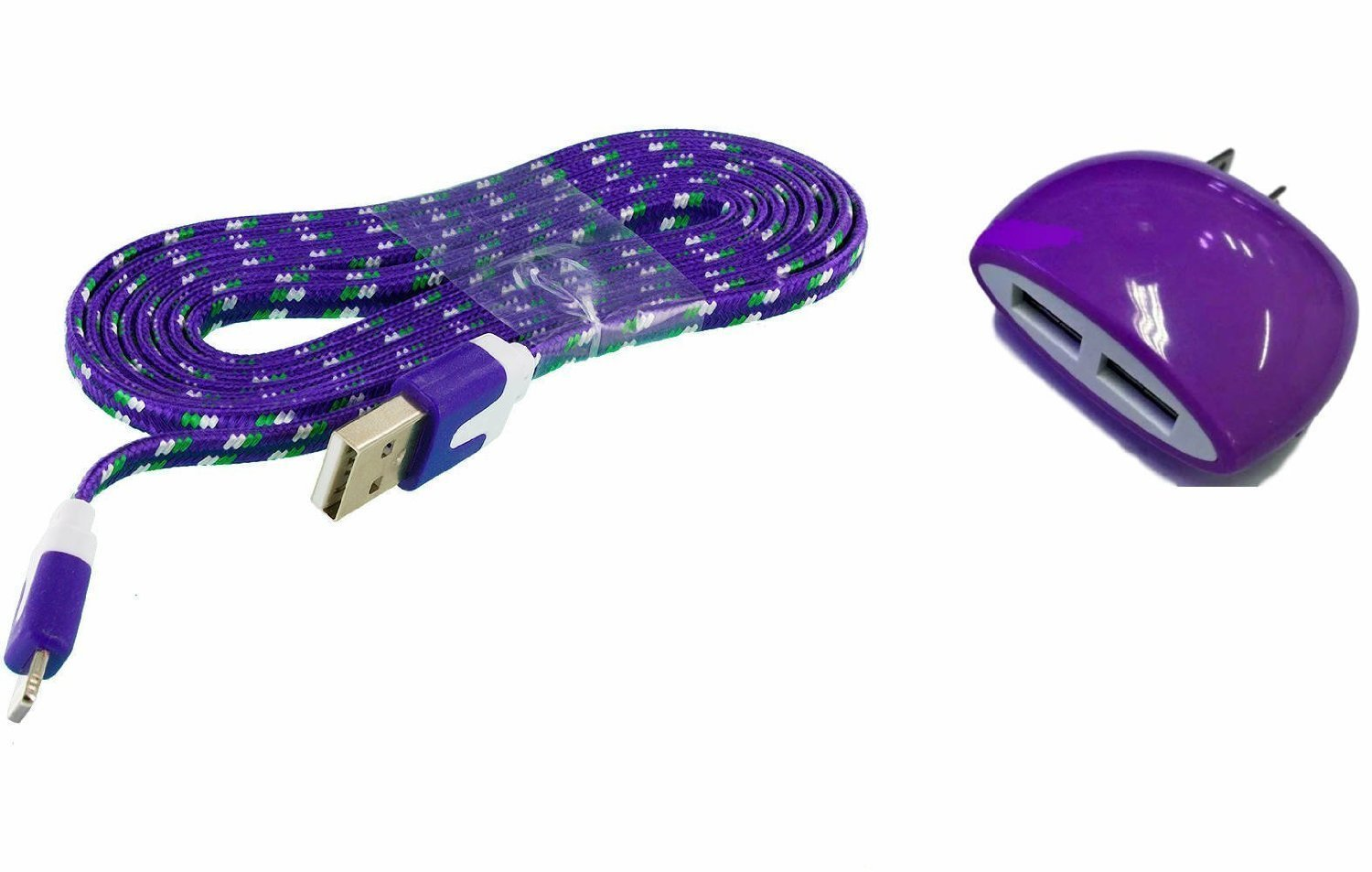 Samsung Galaxy Core Prime Home Wall Charger includes 3 Foot Long Purple Premium Braided Flat Wire Cable and Dual Outlet