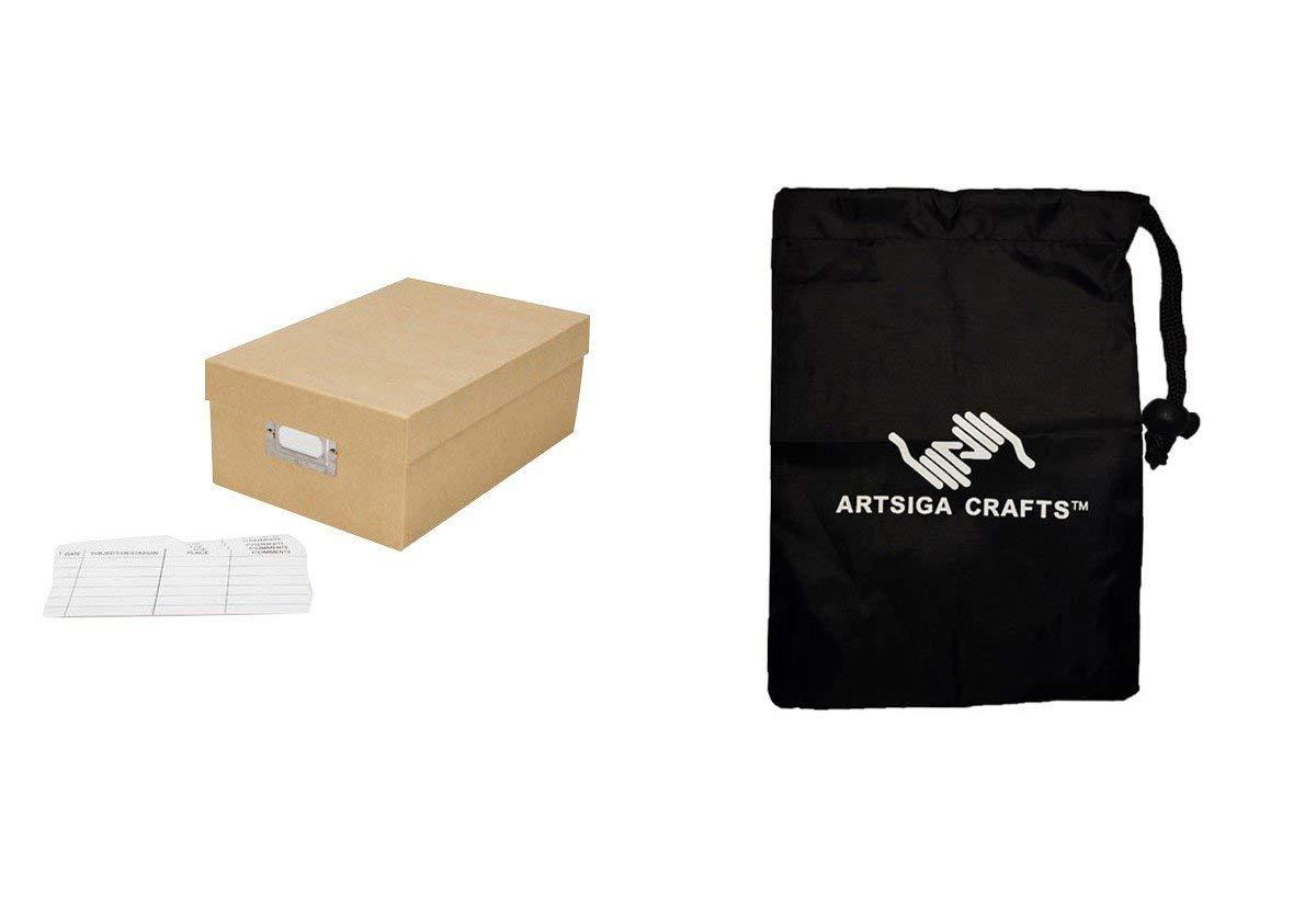 Darice Papercraft Storage Photo Storage Box Plain Tan Paper 7.5 x 4 x 11in. (8 Pack) 2505 52 Bundle with 1 Artsiga Crafts Small Bag