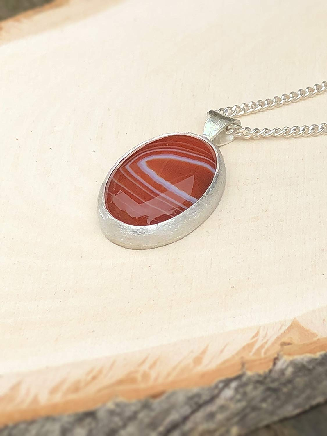 Sterling Silver Boho Stone Necklace, Handmade Oval Unique Natural Carnelian Pendant