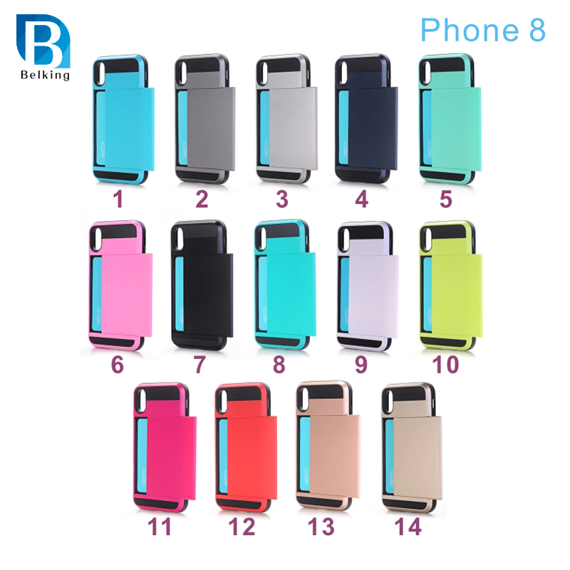 Slider Insert Card 2 in 1 TPU+PC Cell Phone Mobile Phone Cover Case For Iphone 8 8plus