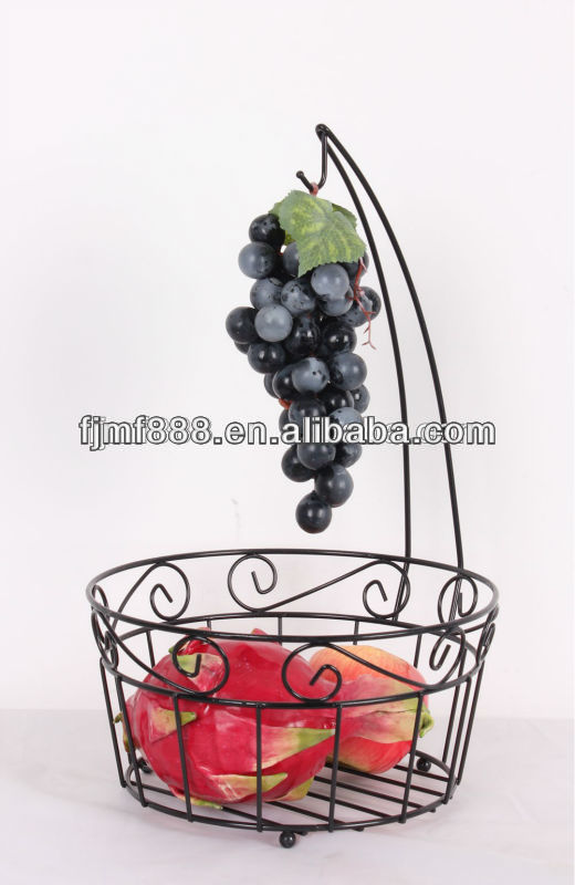Metal Wire Black Tiered Fruit Basket