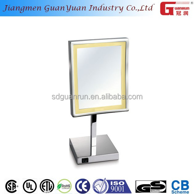 square polished silver makeup backlit brass led finish cosmetic mirror