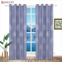 Fashionable bule retro embroidered canvas curtains for home decoration
