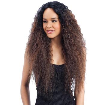 "New Arrival 28"" Bohemia Curl Long Hair Ombre Brown Heat Resistant Synthetic Non Lace Wig For Women"