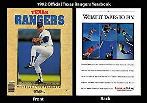 1991 Texas Rangers Official Spring Training Yearbook Nolan Ryan Authentic