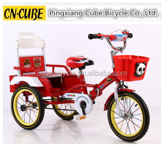 China factory cheap sales two person 3 wheel kids tricycle with back seat