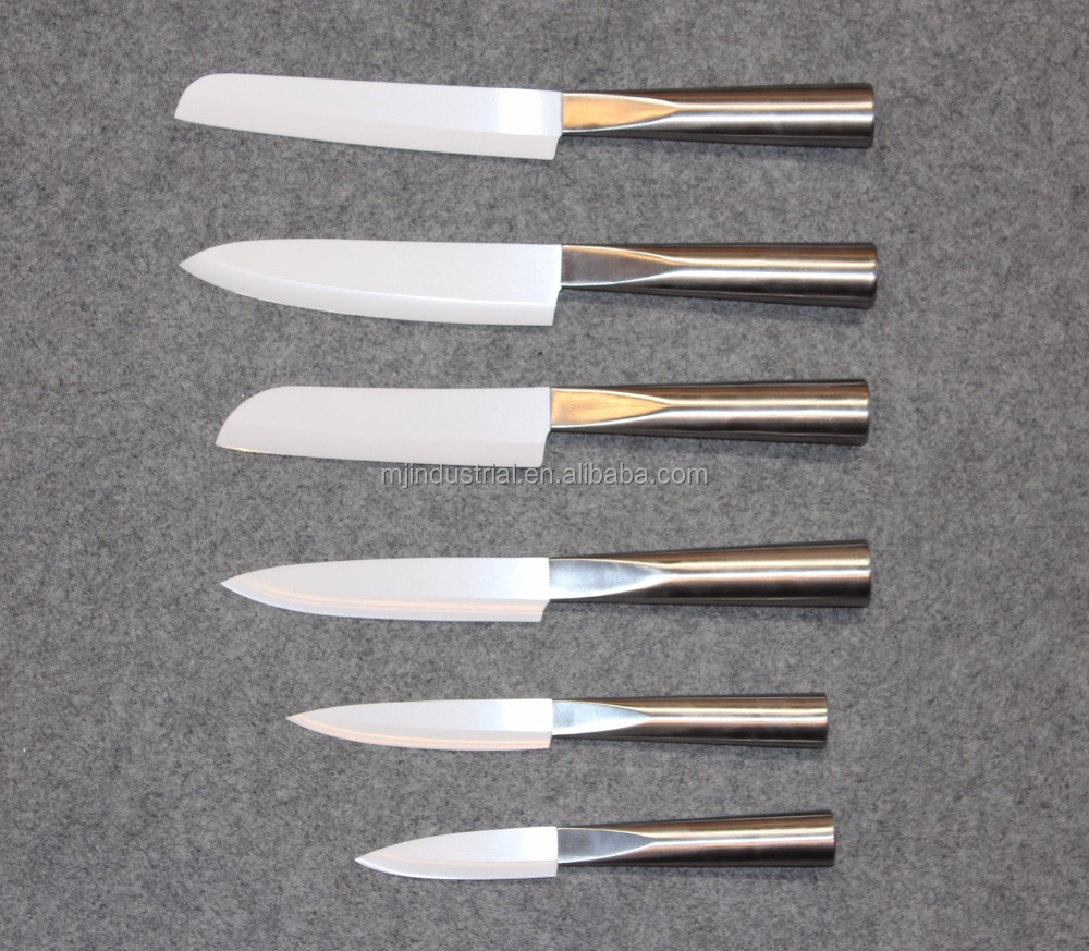"Premium 6 Piece kitchen Ceramic knives set 3"" 4"" 5"" 6"" white ceramic blade with high quality stainless steel handles"