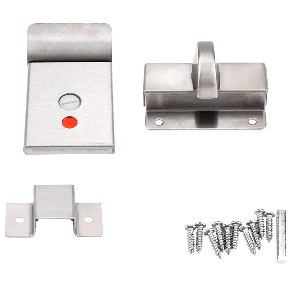 Door Lock Zinc Alloy and Stainless Steel Privacy Bathroom Door Lock Durable Public Toilet Bolt Door Lock with Vacant Engaged Indicator and Screw Fitting Tool for Policy Restroom Toilet