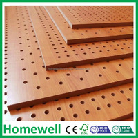 perforated wood 3d acoustic diffuser wall panel