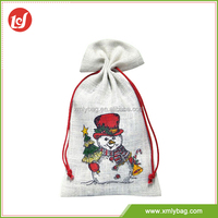 Delicate texture dustproof drawstring small jute gift bag