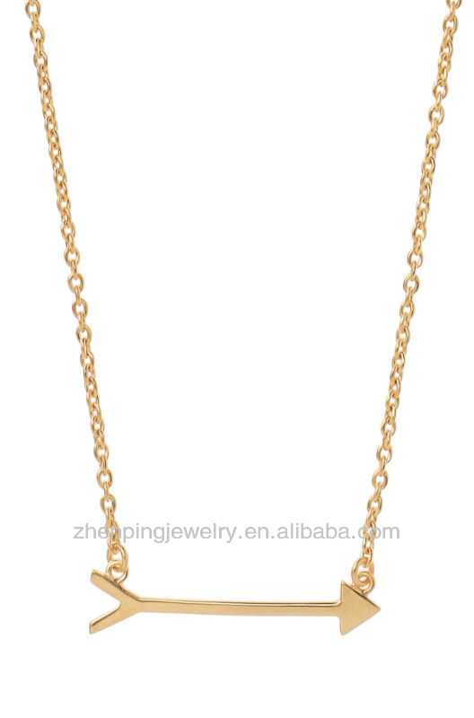 Horizontal Arrow Necklace ,14k Gold Filled Chain