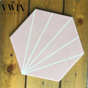 Pink hexagon ceramic porcelain floor tiles
