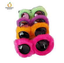 Rabbit fur goggles for party fashion women eyeglass with fur kaleidoscope steampunk goggle
