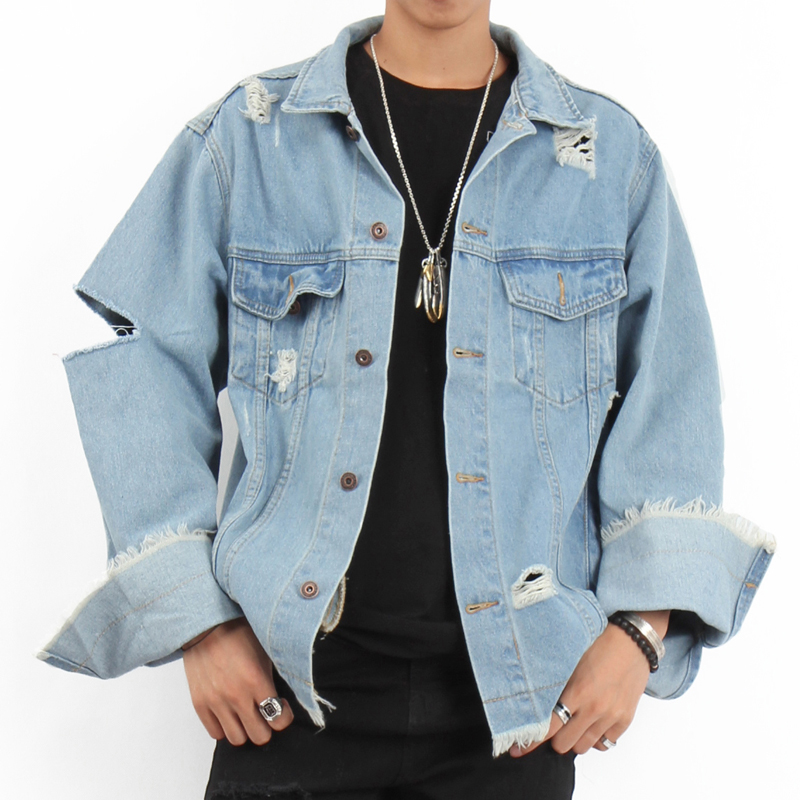 fashion custom vintage washed jeans denim jacket men 2018