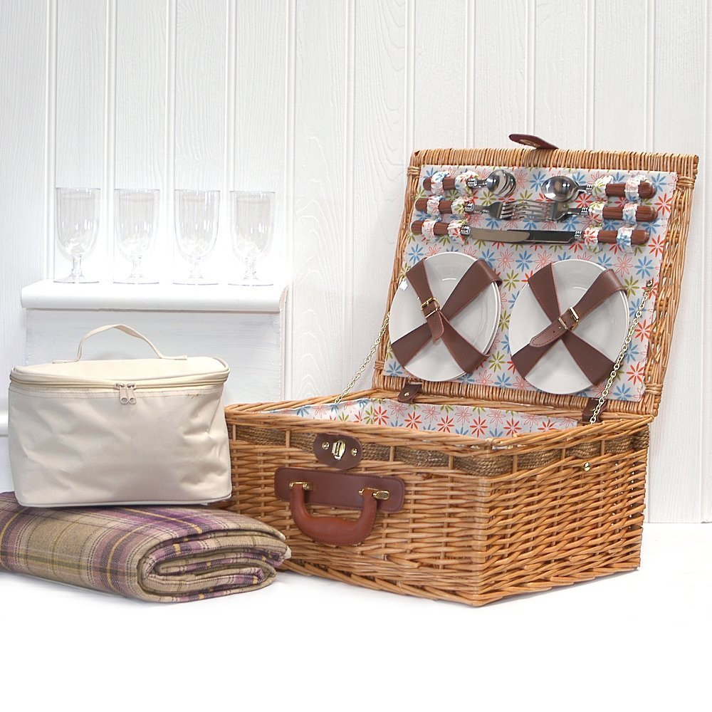 Florence 4 Person Picnic Hamper with Fitted Accessories, Traditional Style Purple Picnic Basket and Cream Chiller Bag