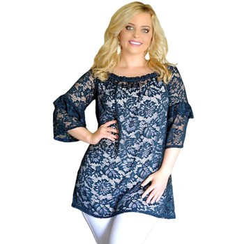 Navy Floral Lace Sheer Ladies Plus Size Tunic Top Hollow Out Autumn Women Designer T Shirt Sexy Fashion Blouses Tops v251258