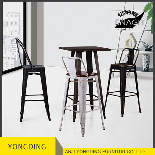 Classical design metal barstool High quality industrial metal bar stools and table with cheap price