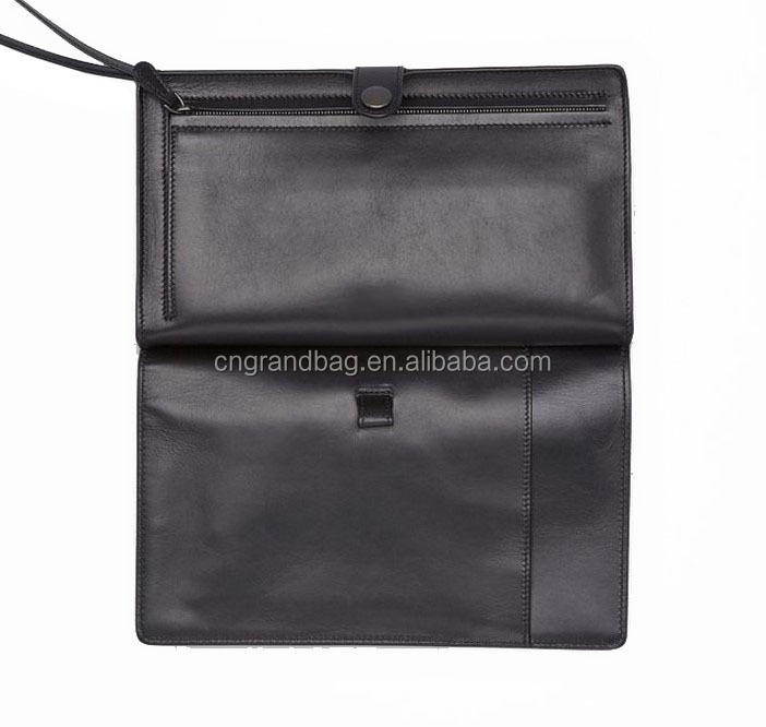 Multi-functional genuine leather men's hand bag travel clutch leather document bag for man